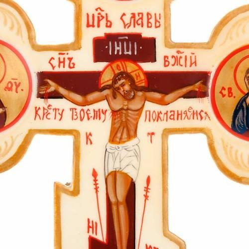 Icône croix trois lobes russe, ivoire s3