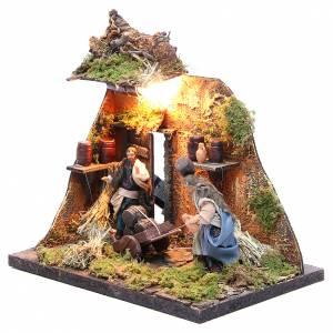 Illuminated cooper figurine for Neapolitan Nativity, 10cm s2