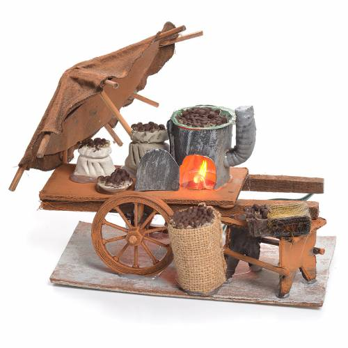 Illuminated nativity scene with roasted chestnuts cart 10x14x8cm s1