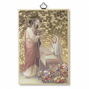 Tableaux, gravures, manuscrit enluminé: Impression sur bois Jésus petite fille Prière Remerciement diplôme Communion ITA