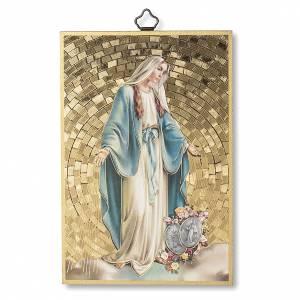 Tableaux, gravures, manuscrit enluminé: Impression sur bois Vierge Miraculeuse avec Médailles