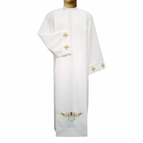 Ivory alb in polyester with cross, wheat and grapes embroideries s1