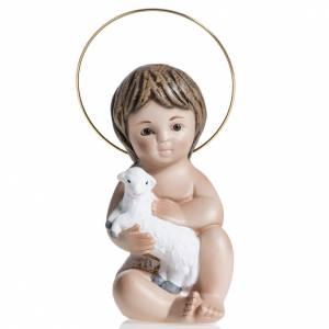Christkindstatuen: Jesuskind aus Gips mit Lamm 20 cm