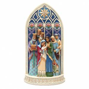 Jim Shore Figuren: Jim Shore - Heilige Familie beim Kathedralfenster