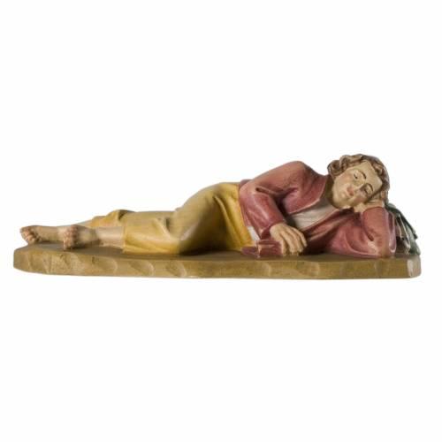 Jovén durmiendo 12 cm madera pesebre mod. Valgardena s1