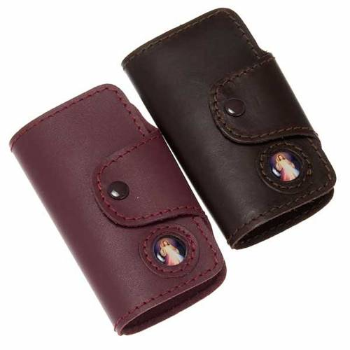 Key case in leather with 6 hooks, Jesus image s1