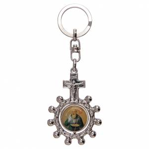 Key Rings: Keyring with swivelling one decade rosary, Saint Benedict