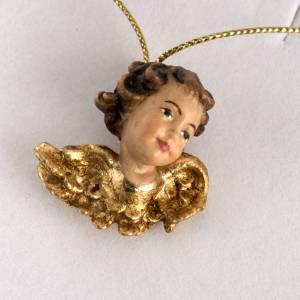 Christbaumschmuck aus Holz und PVC: Klein Engelkopf mit goldenen Flügeln aus Holz