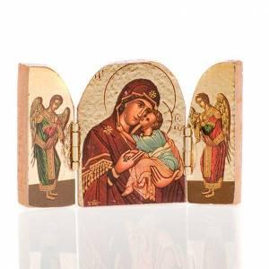 Holz, Stein gedruckte Ikonen: Klein Triptychon