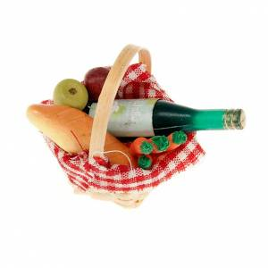 Essen Miniaturen: Kork aus Korb mit Tischdecke, Wein, Brot Krippe