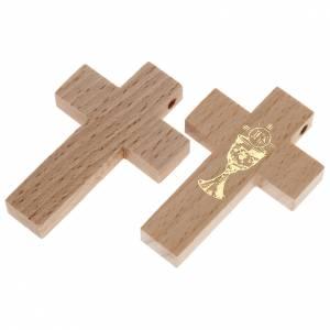 Ringe, Anhänger, Armbänder: Kreuz Kommunion aus Holz Kelch