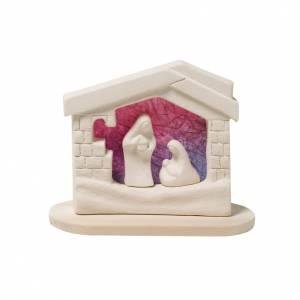 Stilisierte Krippe: Krippe Huette auf Fundament aus Ton violett 14.5 cm