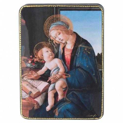 Lacca russa cartapesta La Madonna del Magnificat Fedoskino style 15x11 s1