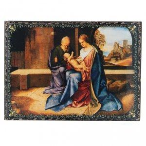 Lacca russa decorata papier machè La Nascita di Gesù Cristo 22X16 cm s1