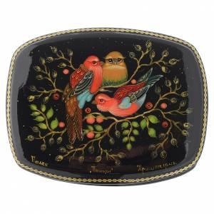 Scatole, lacche russe: Lacca russa papier-machè Uccelli Palech