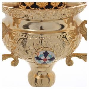 Lampada per Santissimo Ortodossa in ottone cm 15x15 s4
