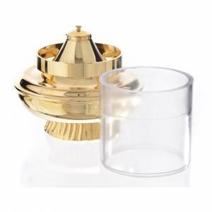 Lanterne à cire liquide blanche sur base h 15,5 cm s2