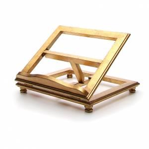 Leggio da tavolo legno foglia oro s2