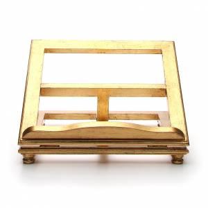 Leggio da tavolo legno foglia oro s1