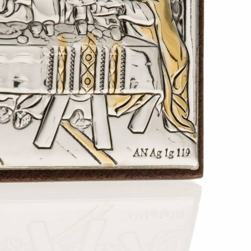 Leonardo's Last Supper bas relief silver on wood s3