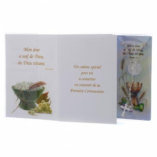 Libretto Prima Comunione FRANCESE con rosario bianco s2