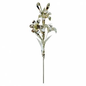 Crowns and halos for religious statues: Lily in silver brass, 40cm