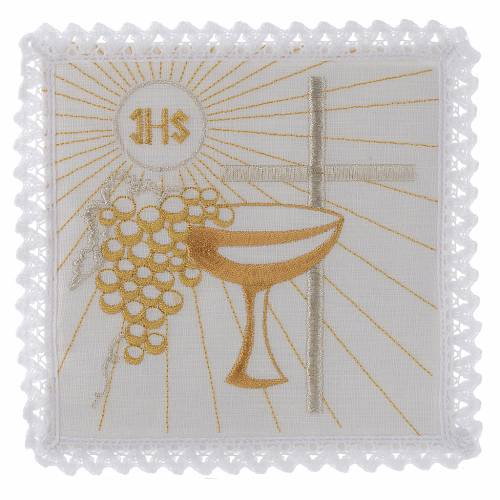 Linge d'autel lin calice raisin dorés croix blanche s1