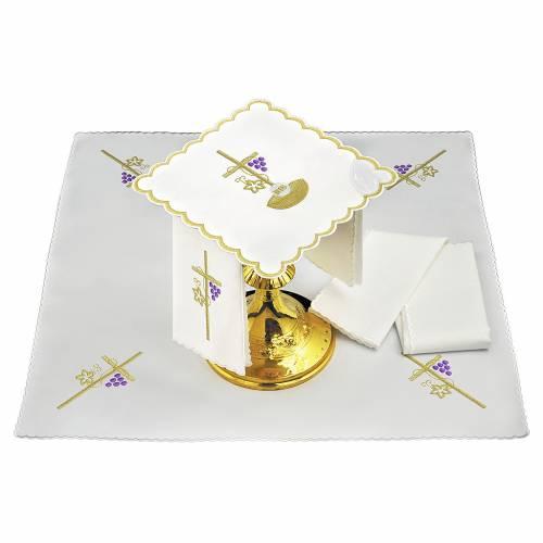 Linge d'autel lin corde croix raisin feuille dorée IHS s1