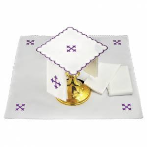 Linge d'autel lin croix baroque broderie violette s1