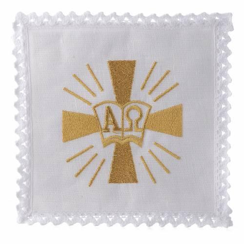 Linge d'autel lin croix symboles Alpha et Oméga s1