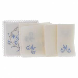 Linge pour autel lin M marial gris bleu clair avec fleurs s2