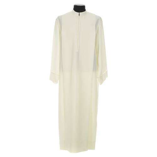 Liturgical alb with 2 pleats and zipper at front in polyester s1