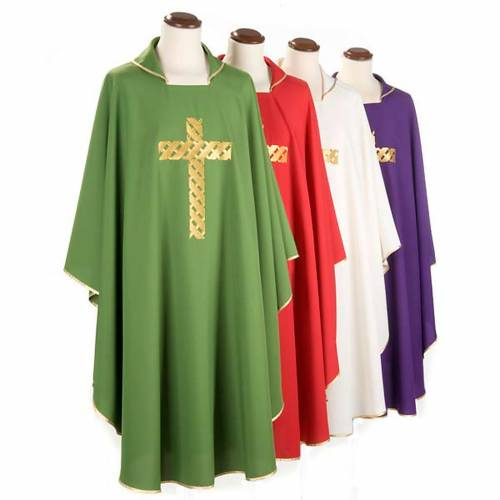 Liturgical chasuble golden cross embroidery s1