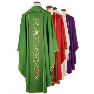Chasubles: Liturgical chasuble in 100% wool, roses and branches