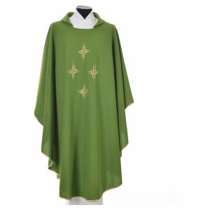 Liturgical chasuble in polyester with four crosses s10