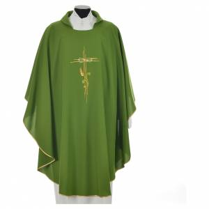 Liturgical Chasuble in polyester with JHS and wheat embroidery s9