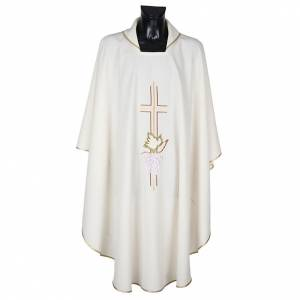 Chasubles: Liturgical vestment in polyester with grapes and double cross