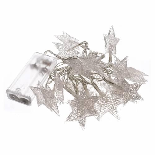 Luces de Navidad 20 estrellas LED blanco hielo para interior s3