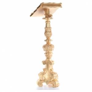 Lutrin style chandelier baroque bois taillé feuille d'or 120 cm s3
