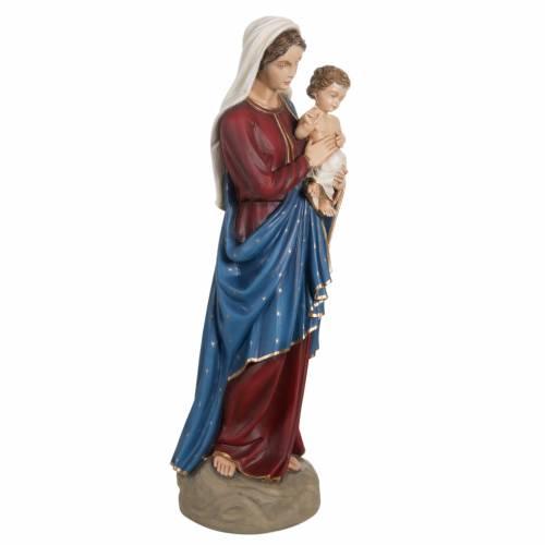 Madonna con bimbo manto blu rosso 85 cm marmo sintetico dipinto s7