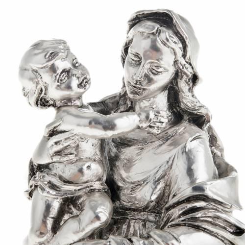 Madonna con bimbo resina color metallo 17 cm s2