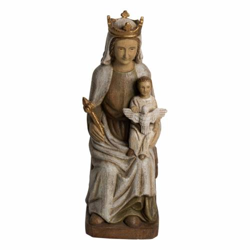 Madonna of Rosay statue in painted Bethléem wood, 42 cm s1