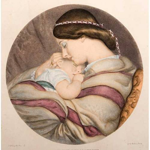 Madre con niño estampa florentina s3