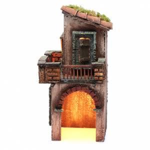 Crèche Napolitaine: Maison en bois 27x12x13 cm crèche napolitaine