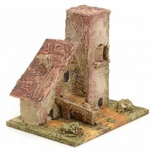 Maison en miniature en bois stucqué pour crèche s2