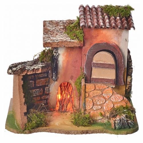 Maison en miniature pour crèche avec feu 17x20x15cm s4