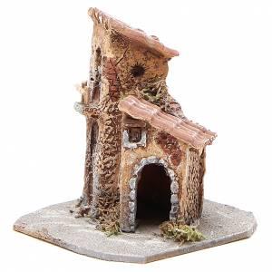 Maisonnette résine bois pour crèche 15x12x15 cm s2