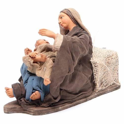 Mamma con bimbo seduta 30 cm movimento presepe Napoli s4