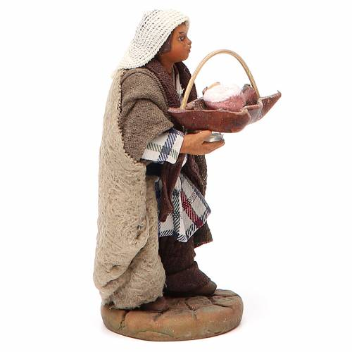 Man holding basket of cured meats, Neapolitan nativity figurine 10cm s2