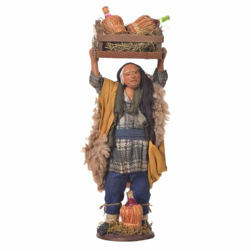 Man with box of bottles on head, Neapolitan Nativity 14cm s1